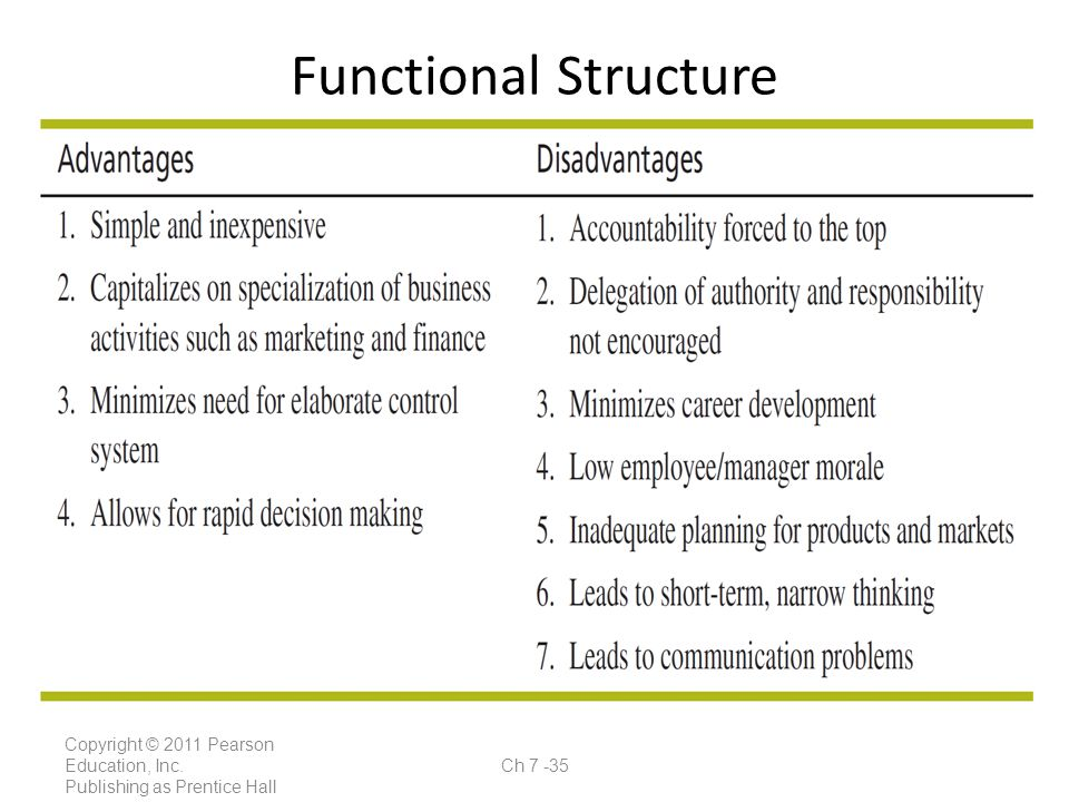 Functional Structure Copyright © 2011 Pearson Education, Inc.