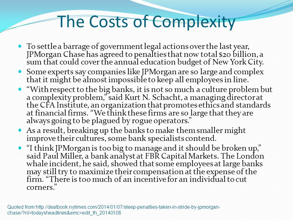 The Costs of Complexity