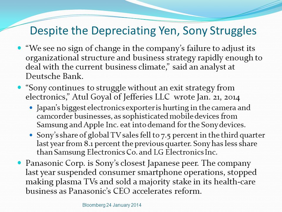 Despite the Depreciating Yen, Sony Struggles