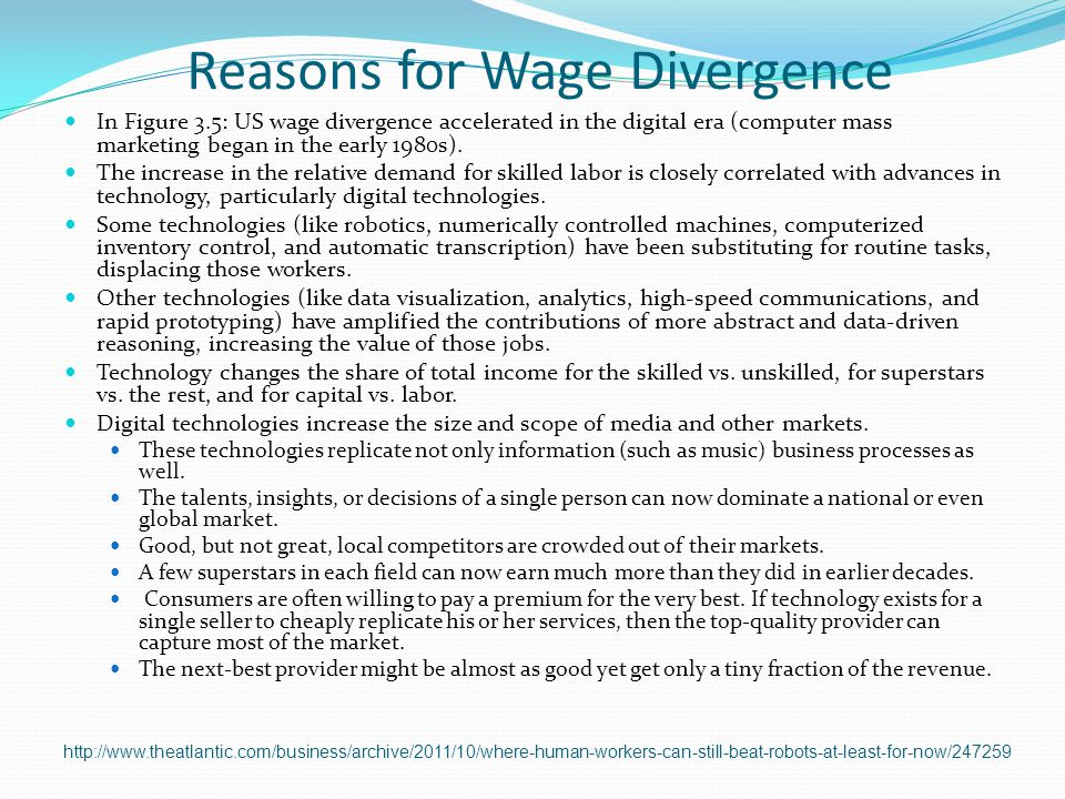 Reasons for Wage Divergence
