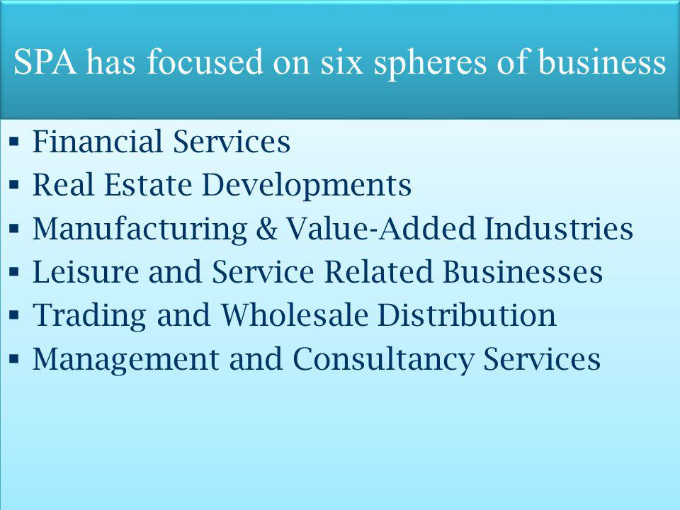 SPA has focused on six spheres of business