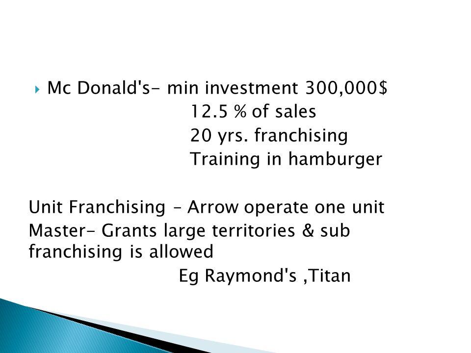 Mc Donald s- min investment 300,000$