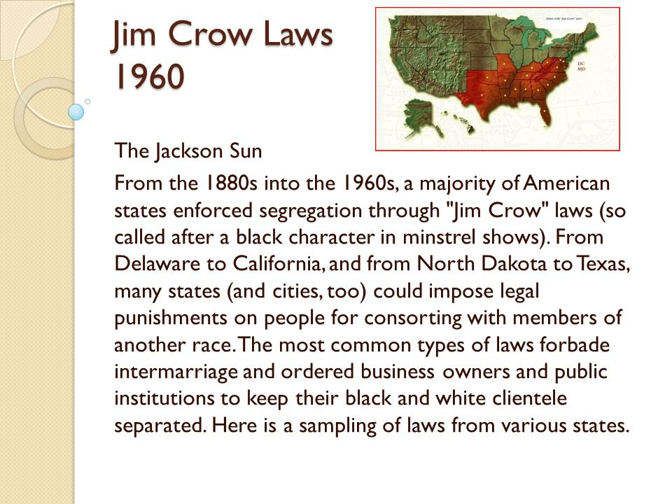 Jim Crow Laws 1960 The Jackson Sun