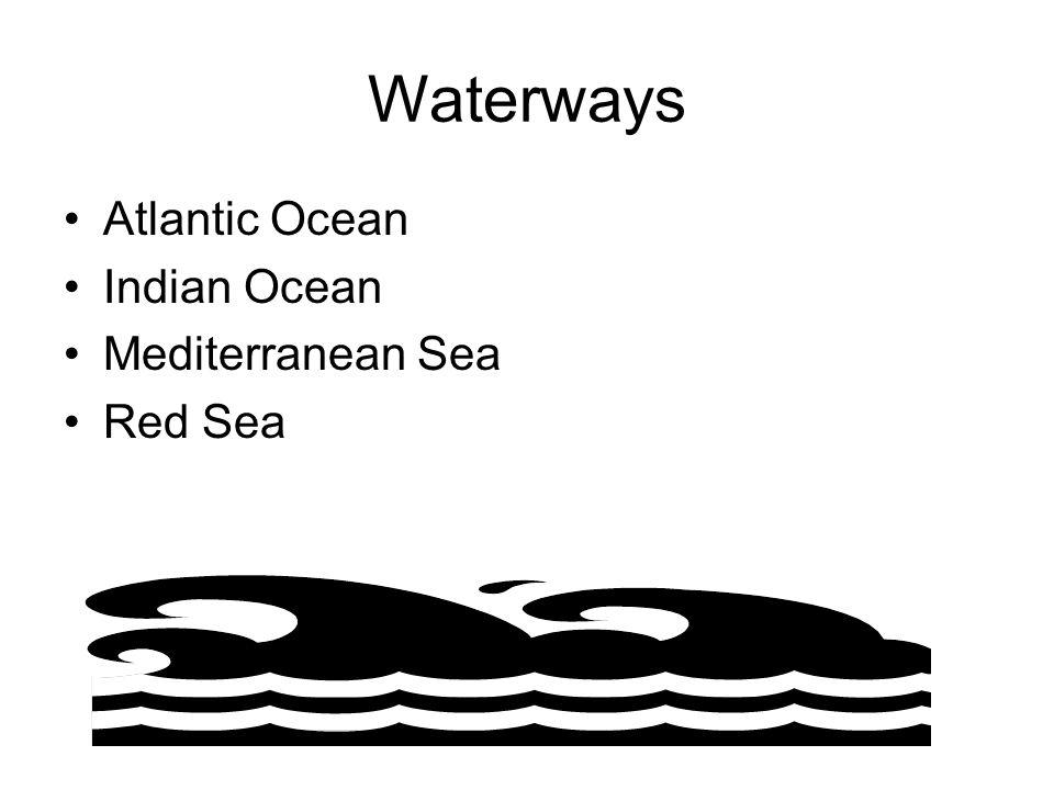 Waterways Atlantic Ocean Indian Ocean Mediterranean Sea Red Sea