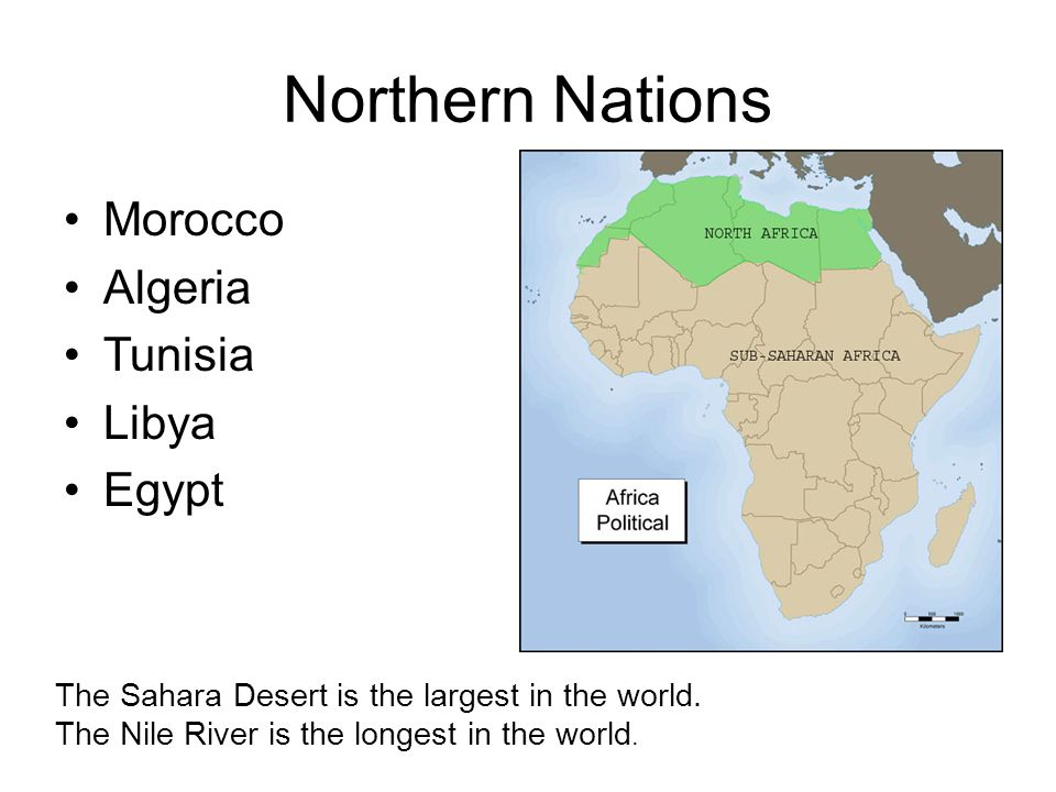 Northern Nations Morocco Algeria Tunisia Libya Egypt