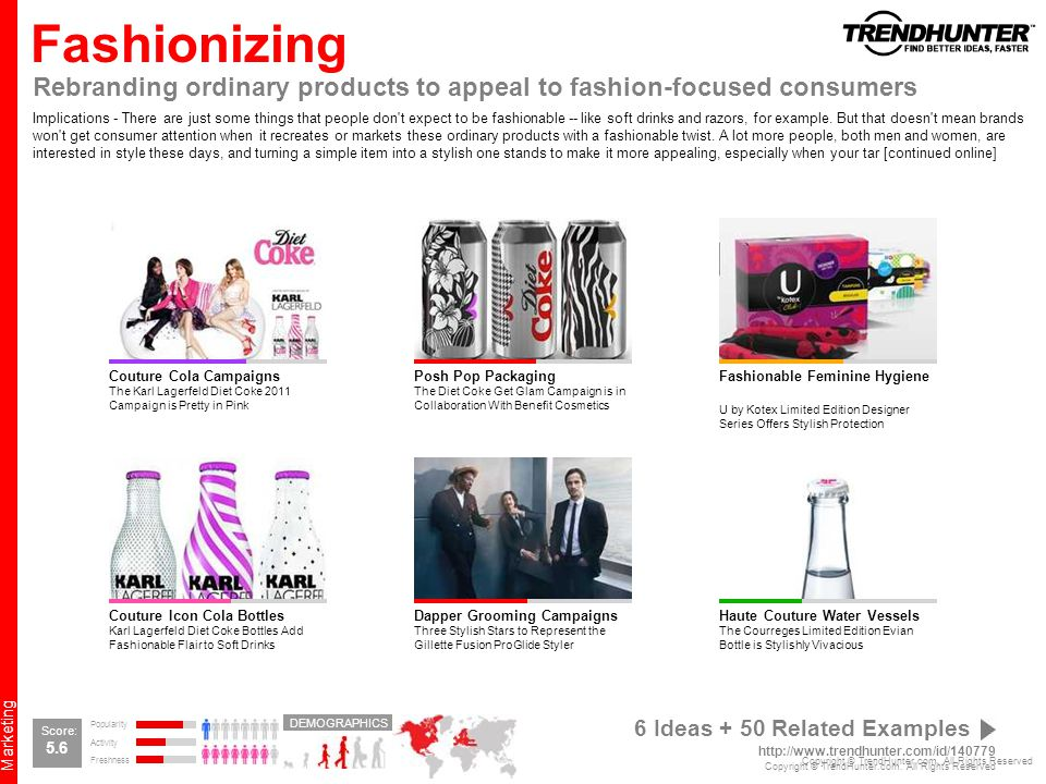 Fashionizing Rebranding ordinary products to appeal to fashion-focused consumers.
