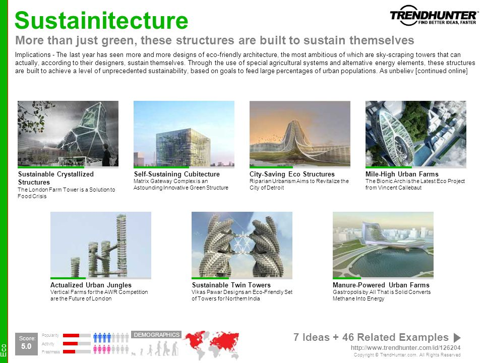 Sustainitecture More than just green, these structures are built to sustain themselves.