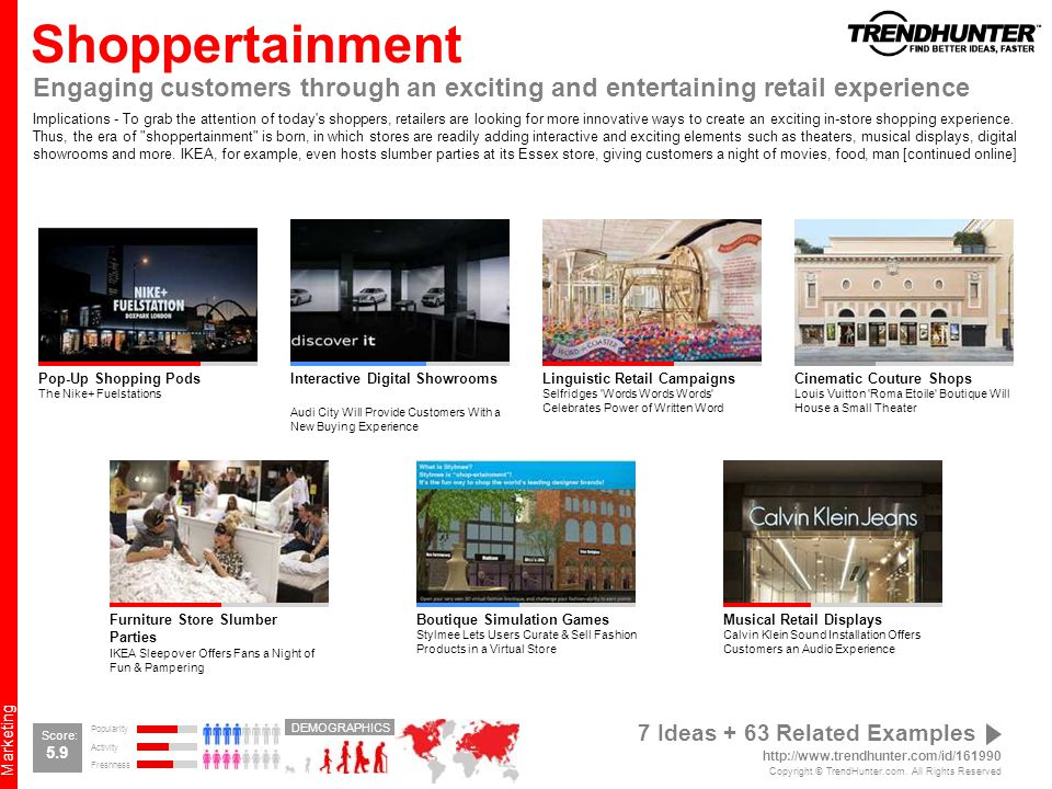 Shoppertainment Engaging customers through an exciting and entertaining retail experience.