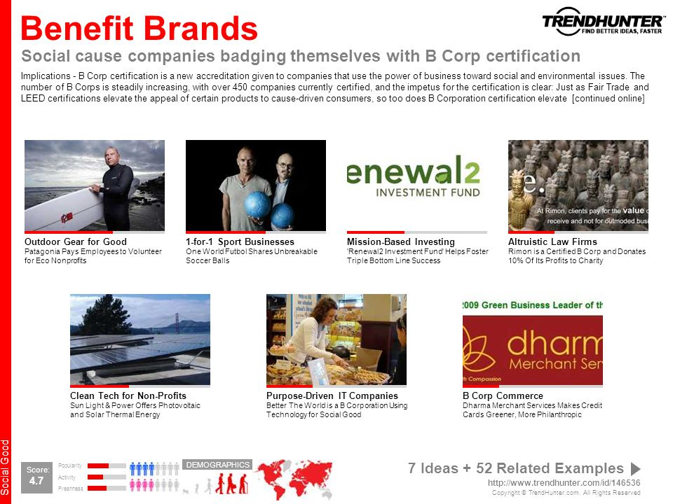 Benefit Brands Social cause companies badging themselves with B Corp certification.