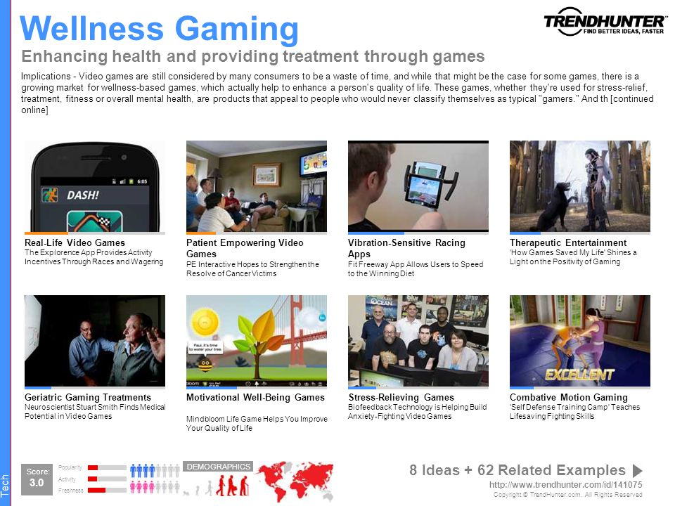 Wellness Gaming Enhancing health and providing treatment through games