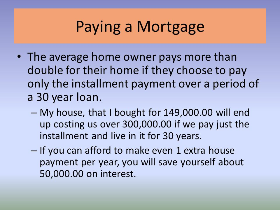 Paying a Mortgage