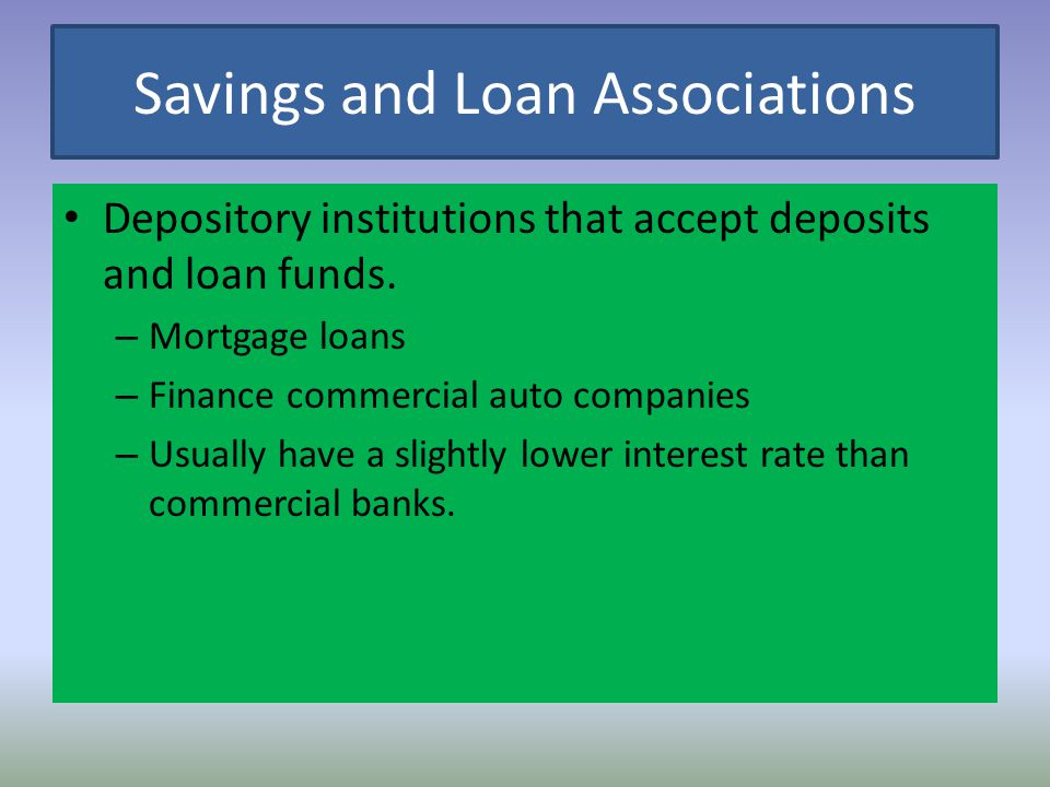Savings and Loan Associations