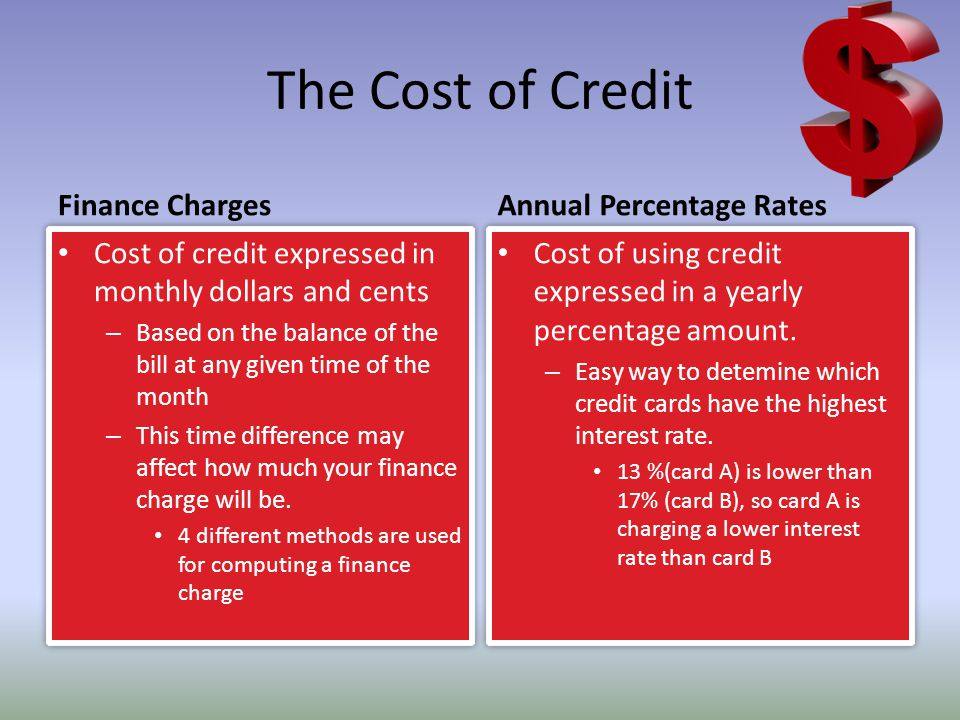 The Cost of Credit Finance Charges Annual Percentage Rates