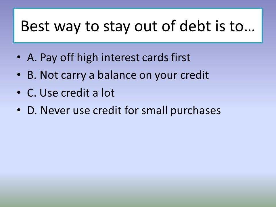 Best way to stay out of debt is to…