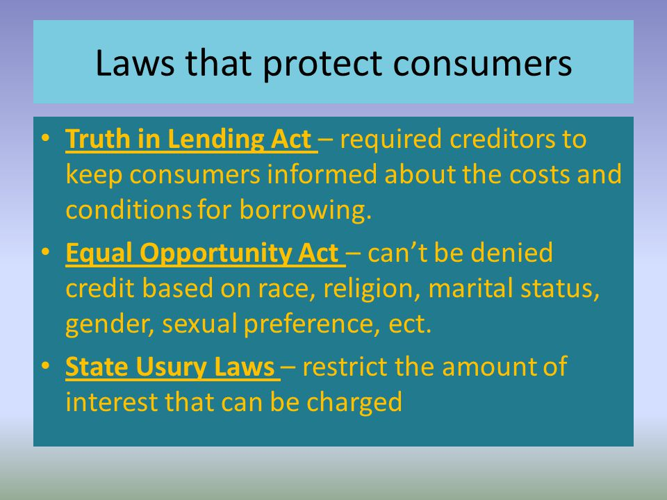 Laws that protect consumers