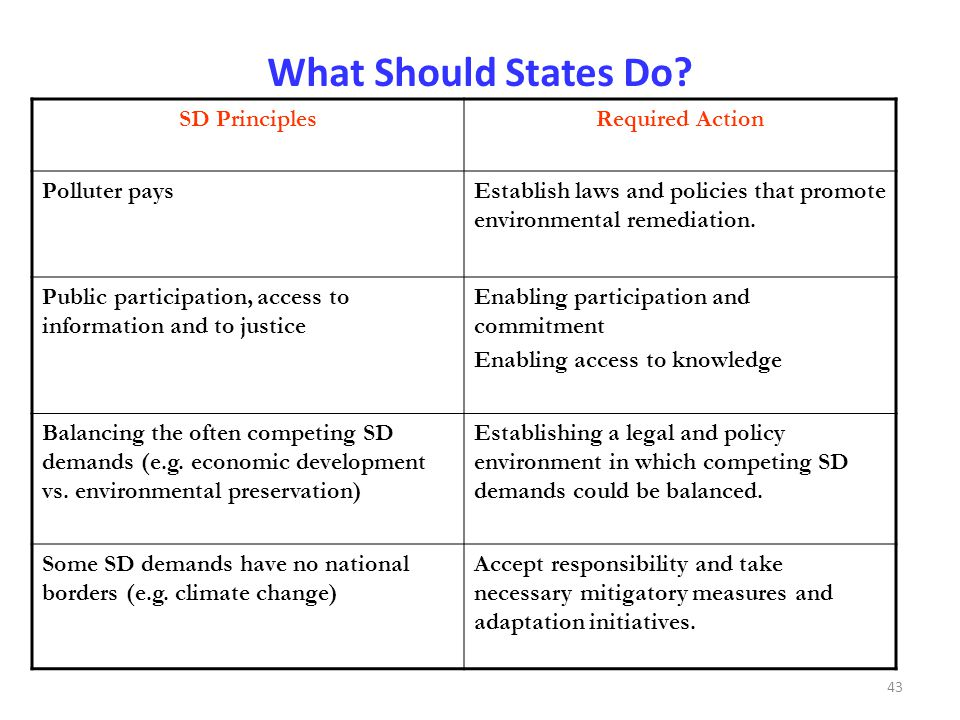What Should States Do SD Principles Required Action Polluter pays