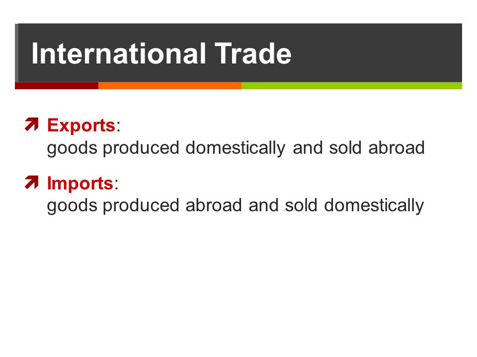 International Trade Exports: goods produced domestically and sold abroad. Imports: goods produced abroad and sold domestically.