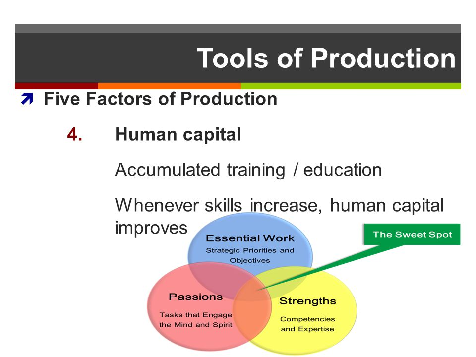 Tools of Production Five Factors of Production 4. Human capital