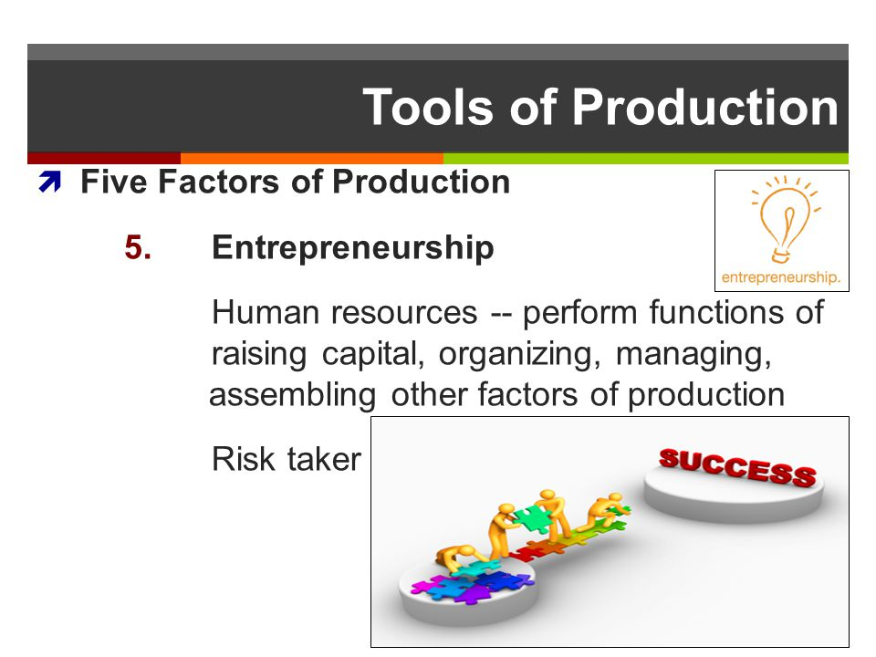Tools of Production Five Factors of Production 5. Entrepreneurship