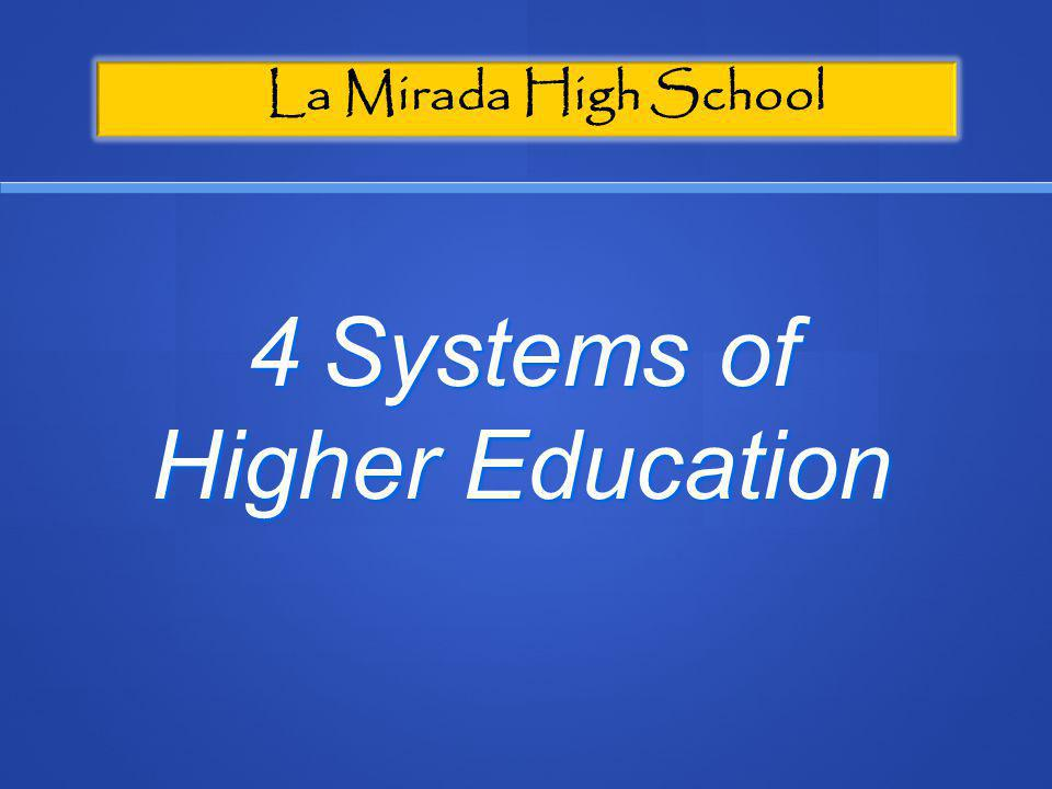 La Mirada High School 4 Systems of Higher Education