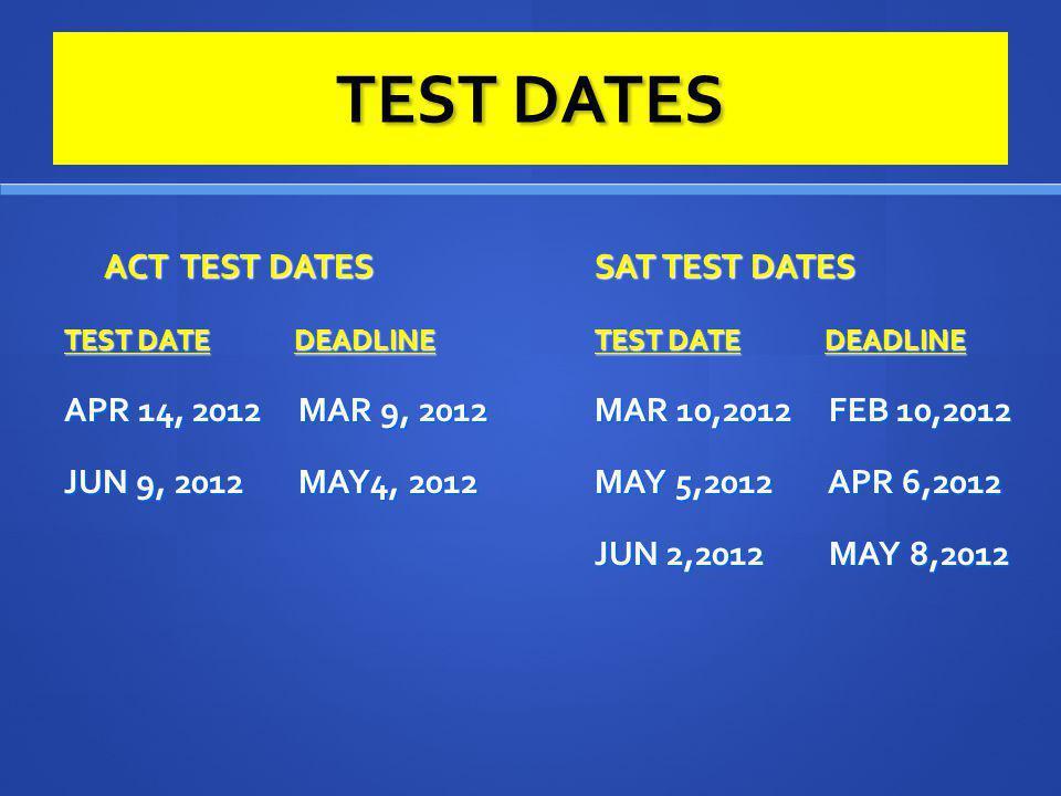 TEST DATES ACT TEST DATES SAT TEST DATES