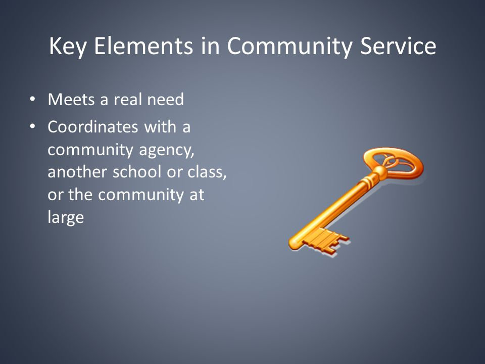 Key Elements in Community Service