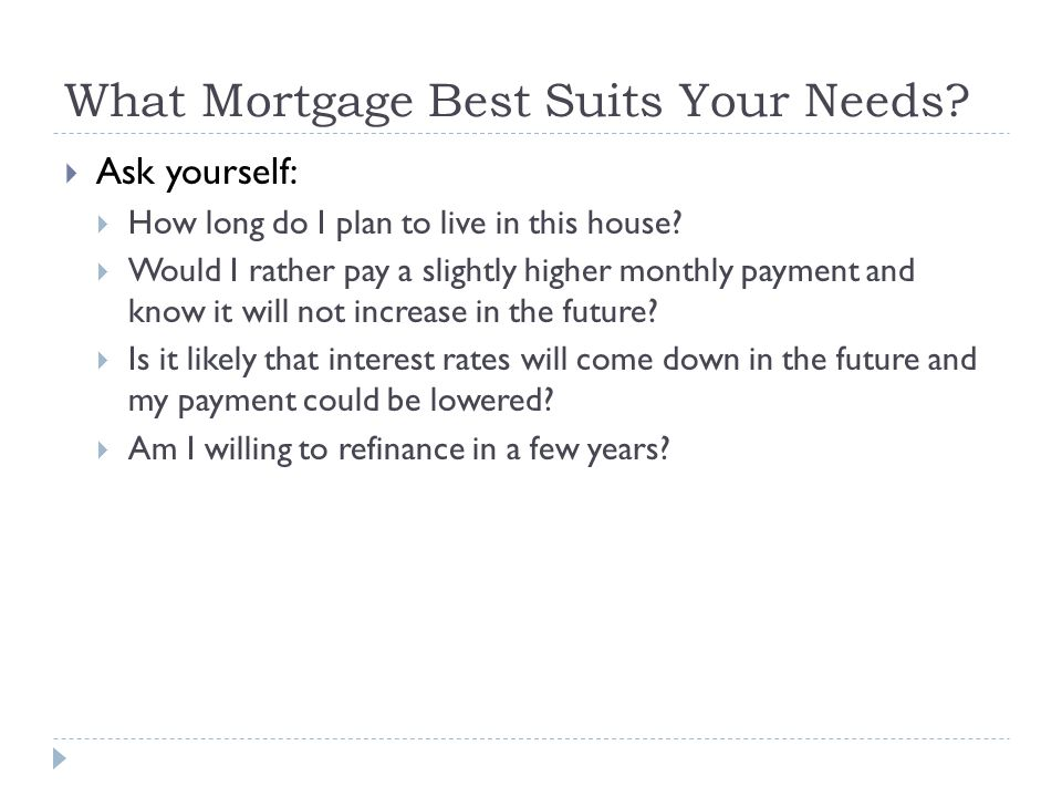 What Mortgage Best Suits Your Needs