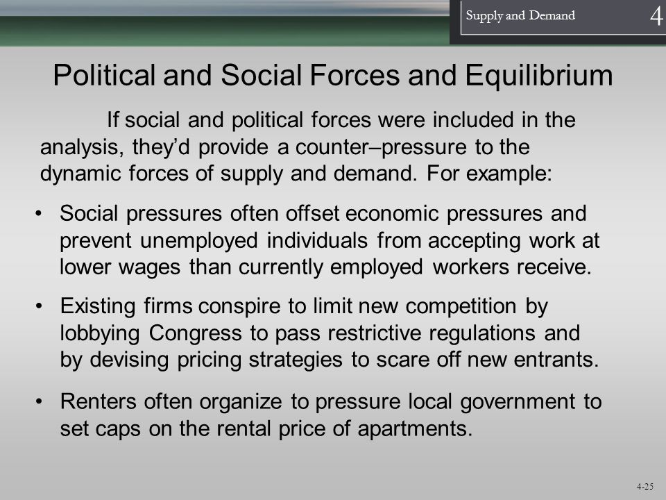 Political and Social Forces and Equilibrium
