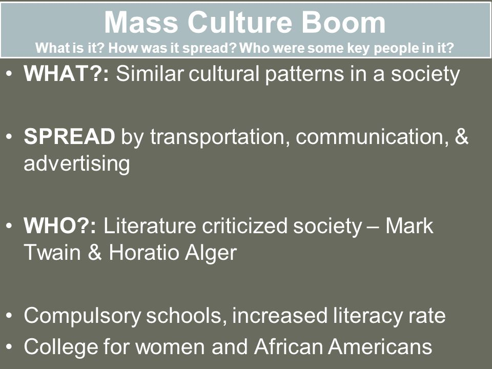 Mass Culture Boom What is it. How was it spread