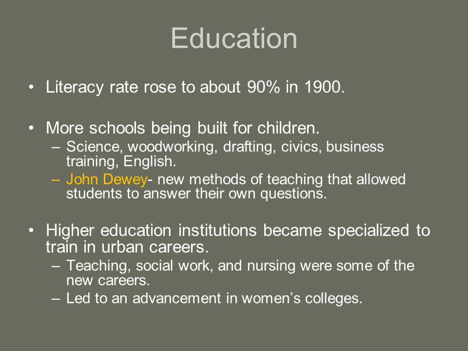 Education Literacy rate rose to about 90% in 1900.