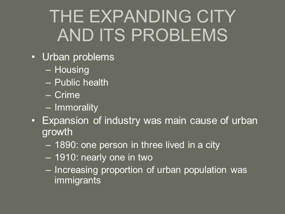 THE EXPANDING CITY AND ITS PROBLEMS