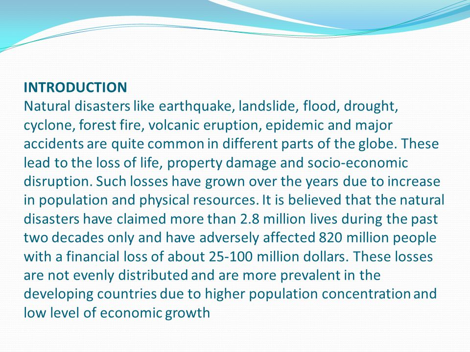 Natural Disasters Earthquakes Introduction