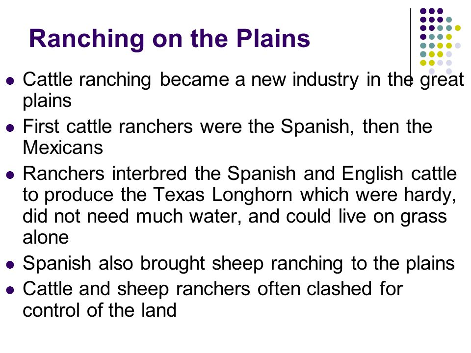 Ranching on the Plains Cattle ranching became a new industry in the great plains. First cattle ranchers were the Spanish, then the Mexicans.