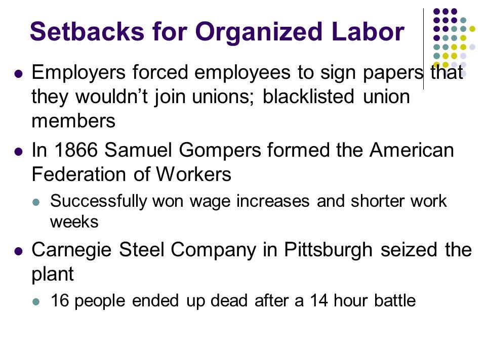 Setbacks for Organized Labor
