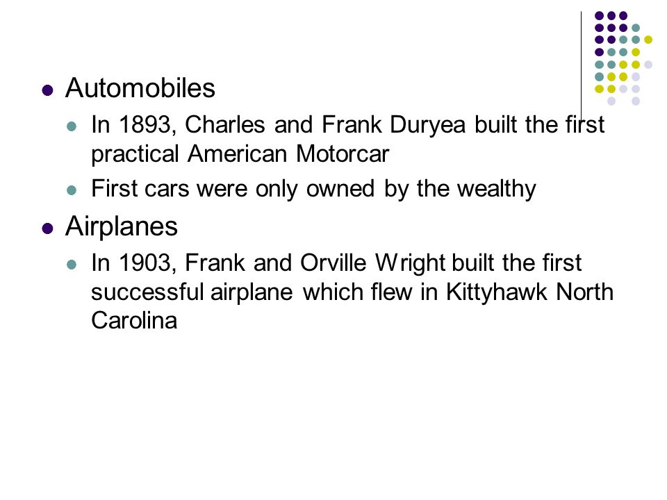 Automobiles Airplanes