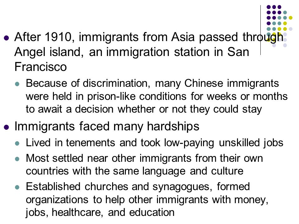 Immigrants faced many hardships