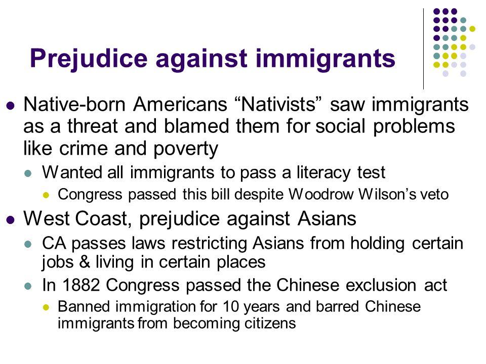 Prejudice against immigrants