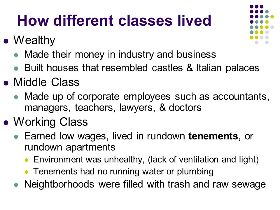 How different classes lived
