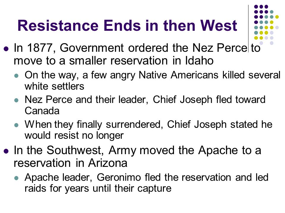 Resistance Ends in then West