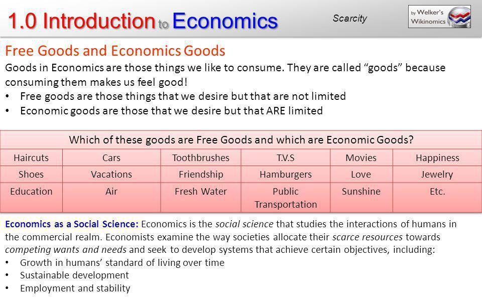 Free Goods and Economics Goods