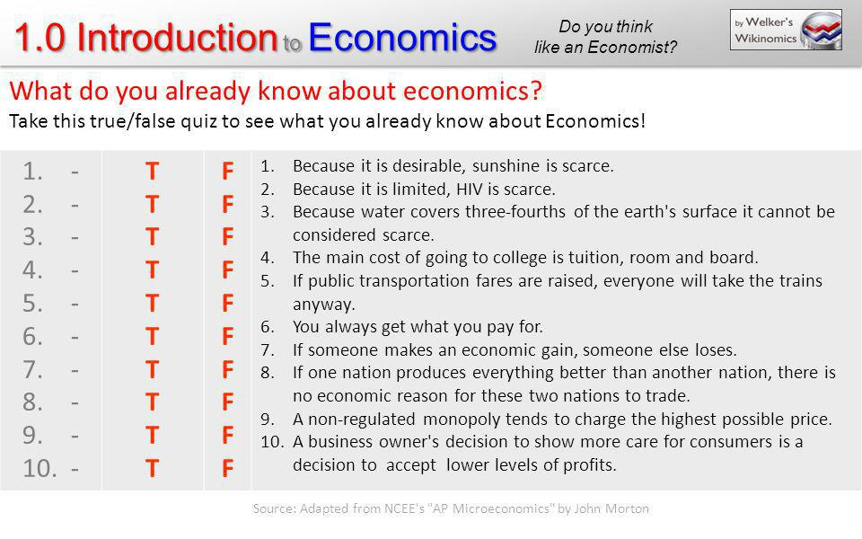 What do you already know about economics