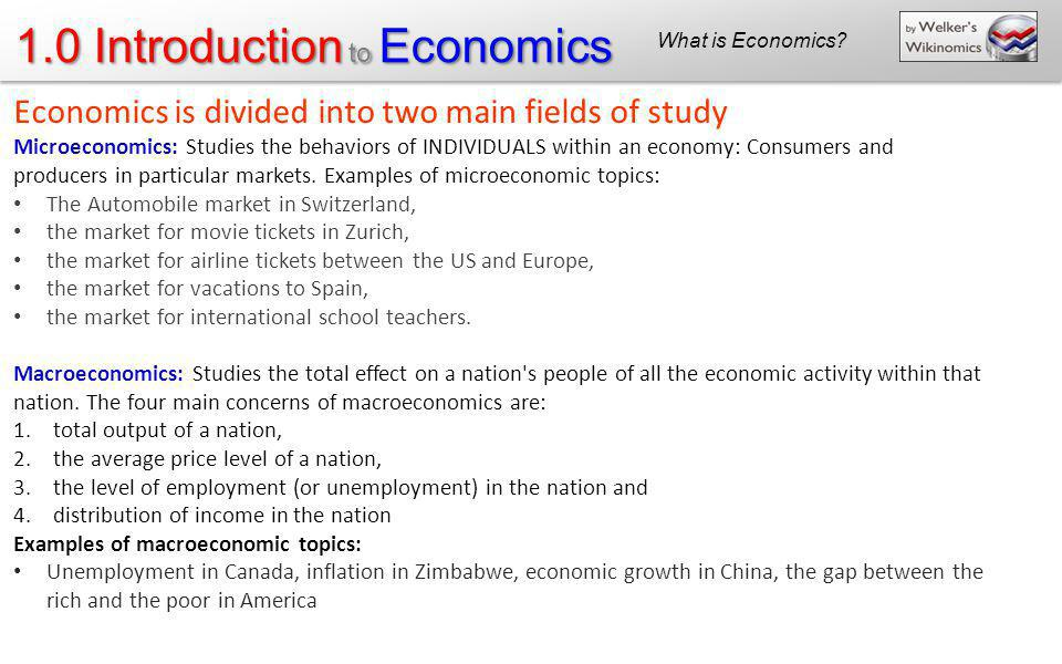 Economics is divided into two main fields of study