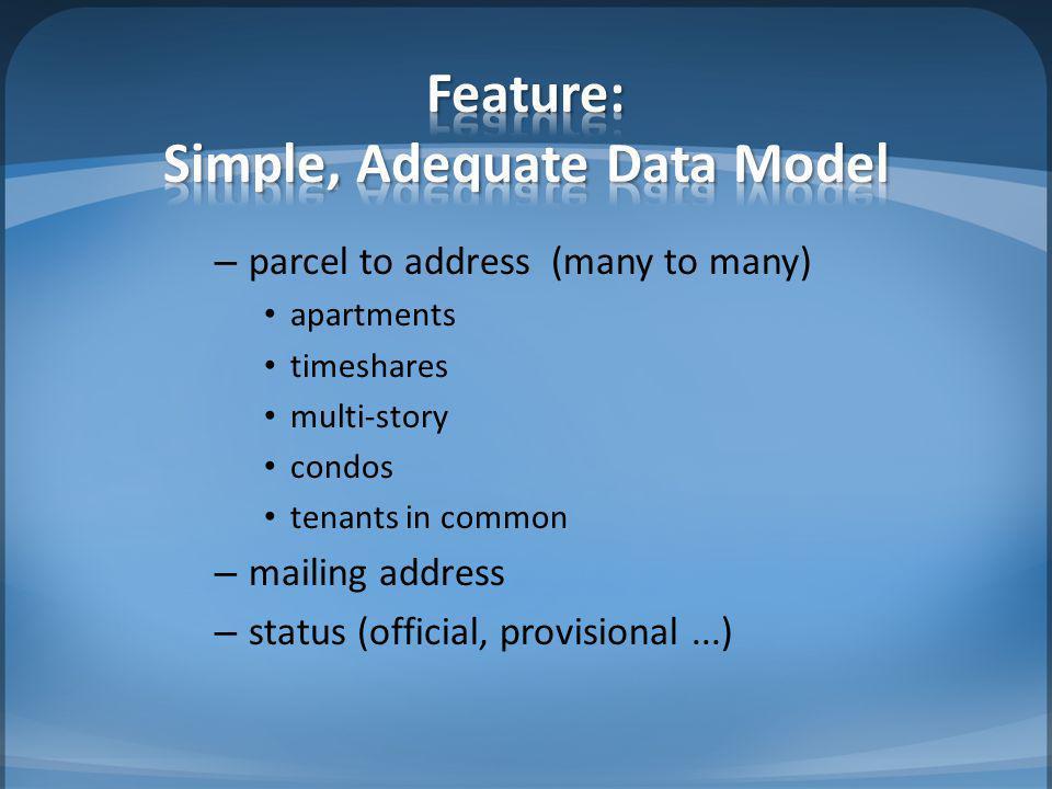 Feature: Simple, Adequate Data Model