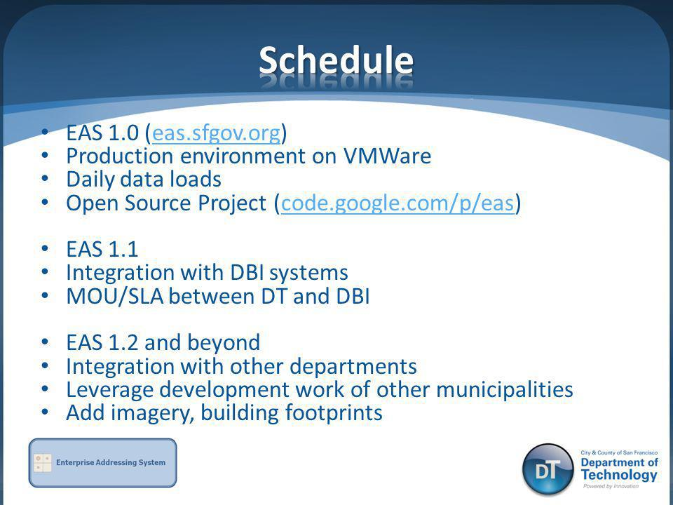 Schedule EAS 1.0 (eas.sfgov.org) Production environment on VMWare