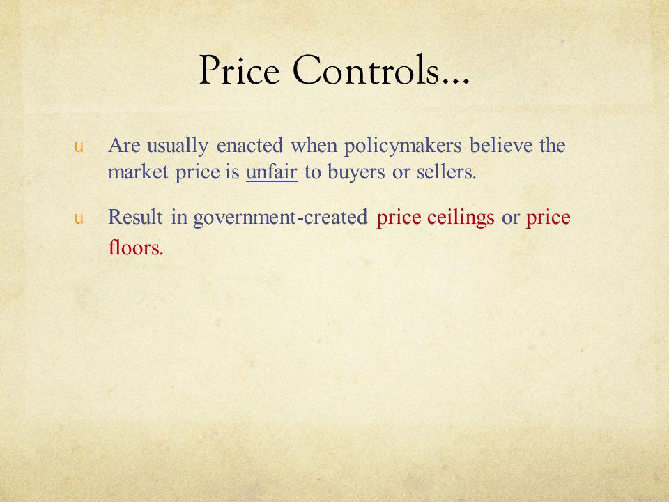 Price Controls… Are usually enacted when policymakers believe the market price is unfair to buyers or sellers.