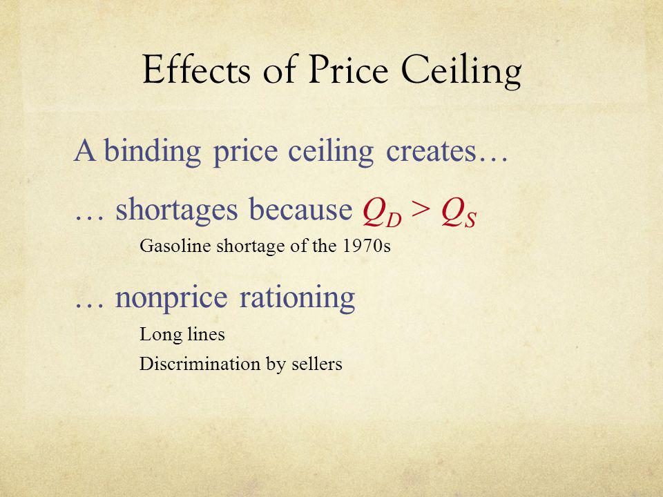 Effects of Price Ceiling