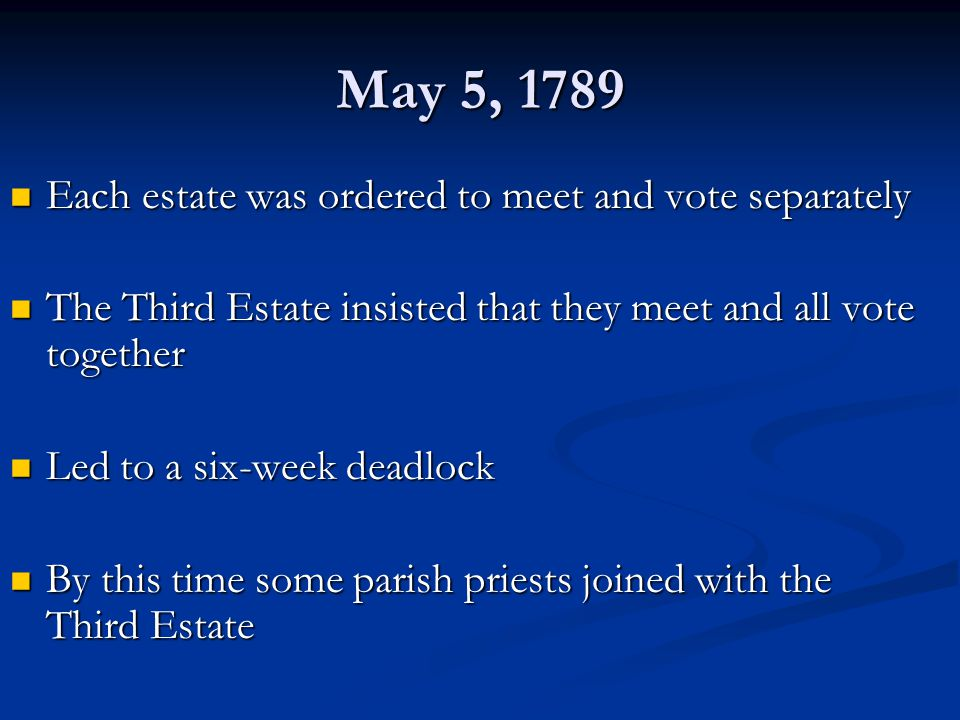 May 5, 1789 Each estate was ordered to meet and vote separately
