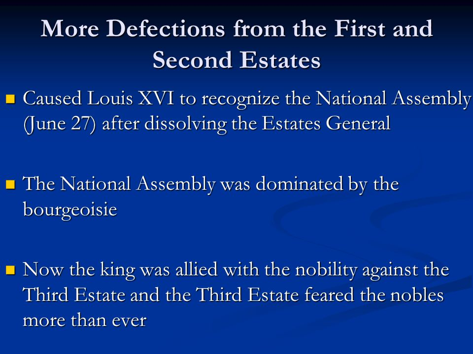 More Defections from the First and Second Estates