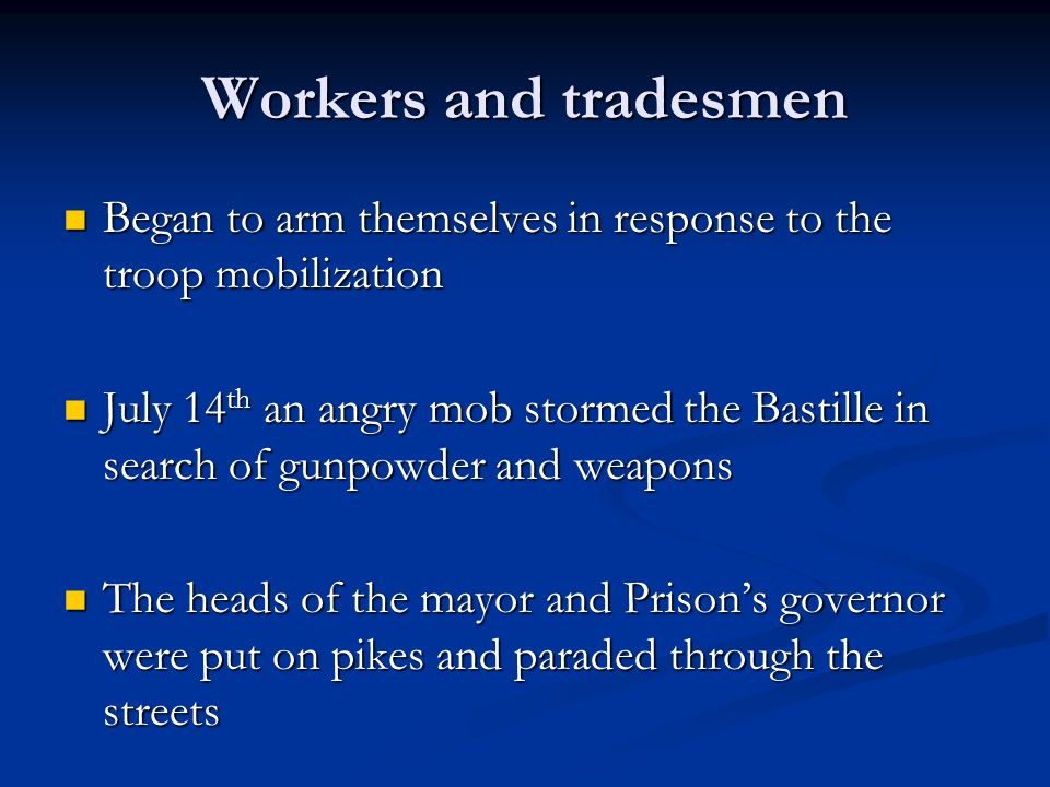 Workers and tradesmen Began to arm themselves in response to the troop mobilization.