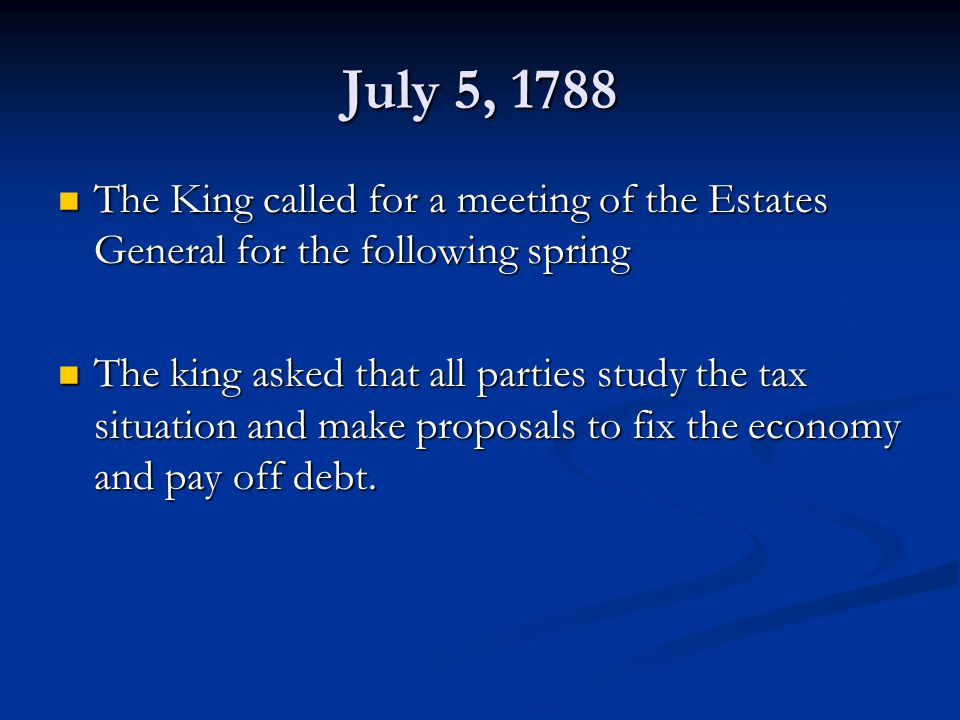 July 5, 1788 The King called for a meeting of the Estates General for the following spring.